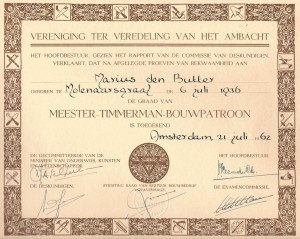 diploma Meester Timmerman